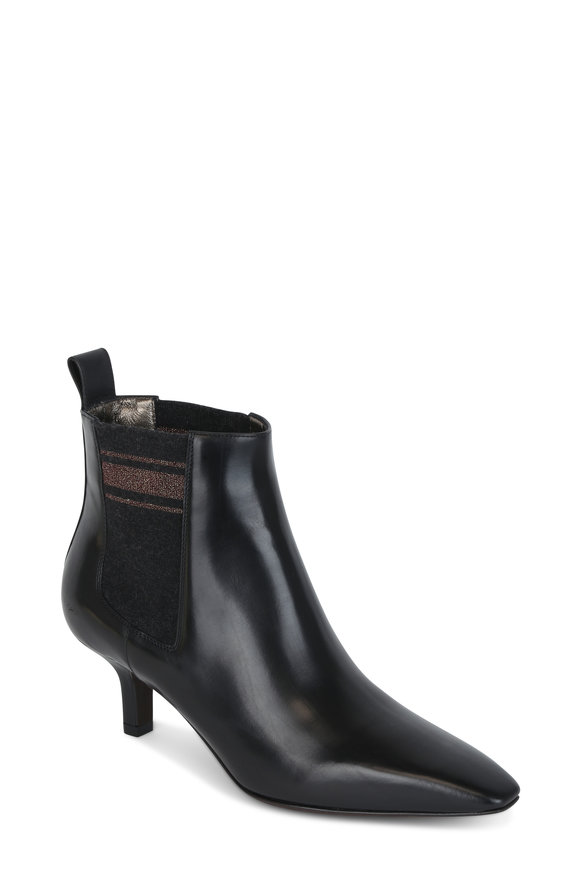 Brunello Cucinelli Black Leather & Knit Lurex Bootie, 30mm