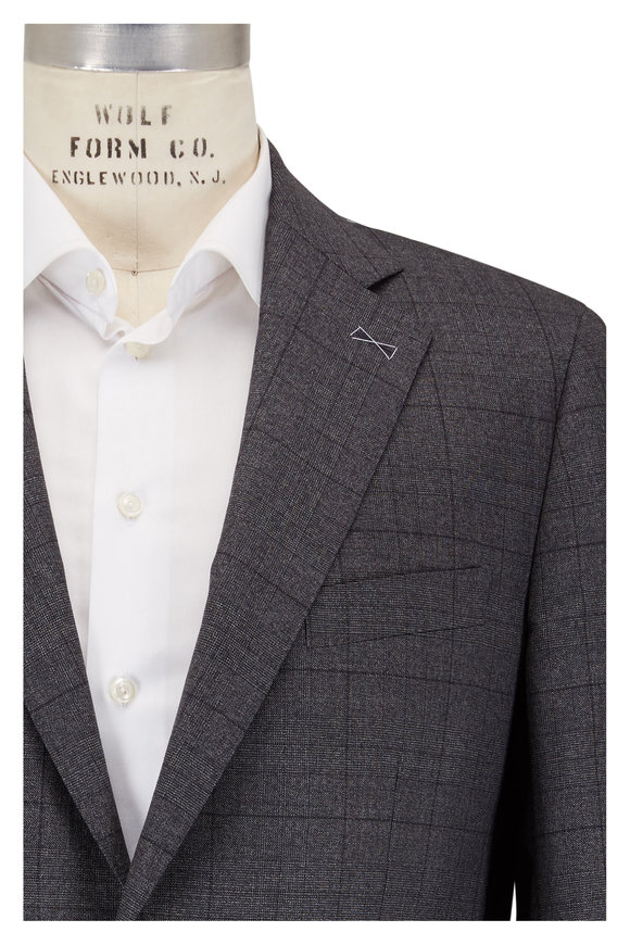 Atelier Munro Dark Gray Glen Check Wool Suit