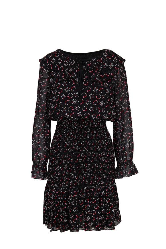 Emporio Armani Black Stargazer Printed Tie-Neck Dress