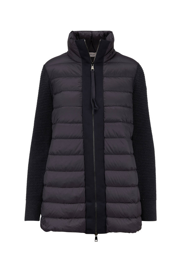 Moncler Maglione Charcoal Gray Knit Sleeve Puffer Jacket