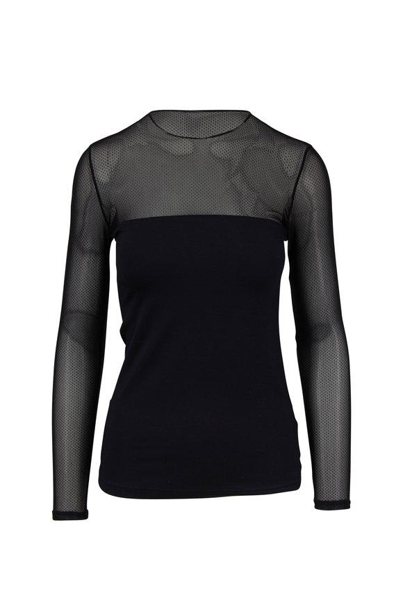 Akris Punto Black Illusion Sleeve Blouse
