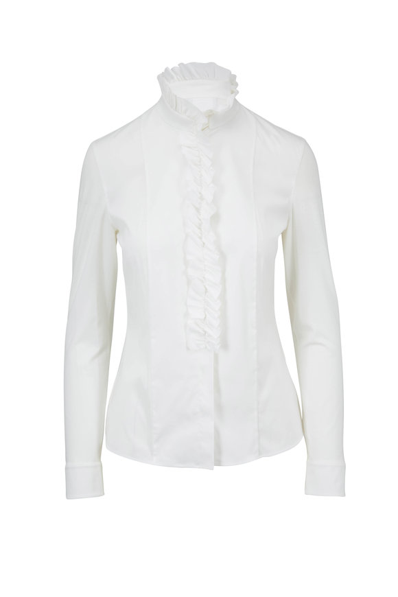 Akris Punto Cream Stretch Cotton Ruffled High-Neck Blouse