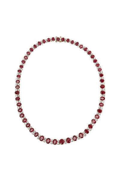 Oscar Heyman - Gold & Platinum Ruby Diamond Necklace