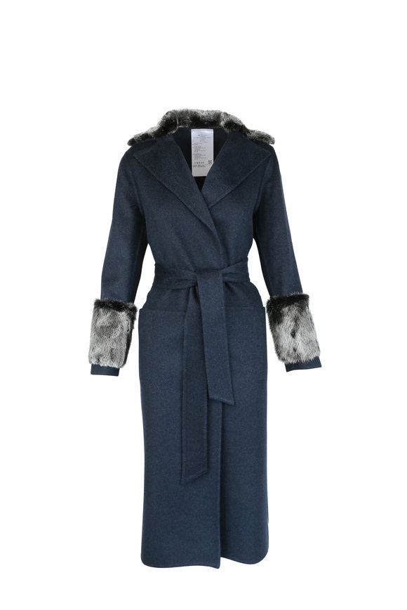 Kiton Navy Cashmere & Mink Trim Long Belted Coat