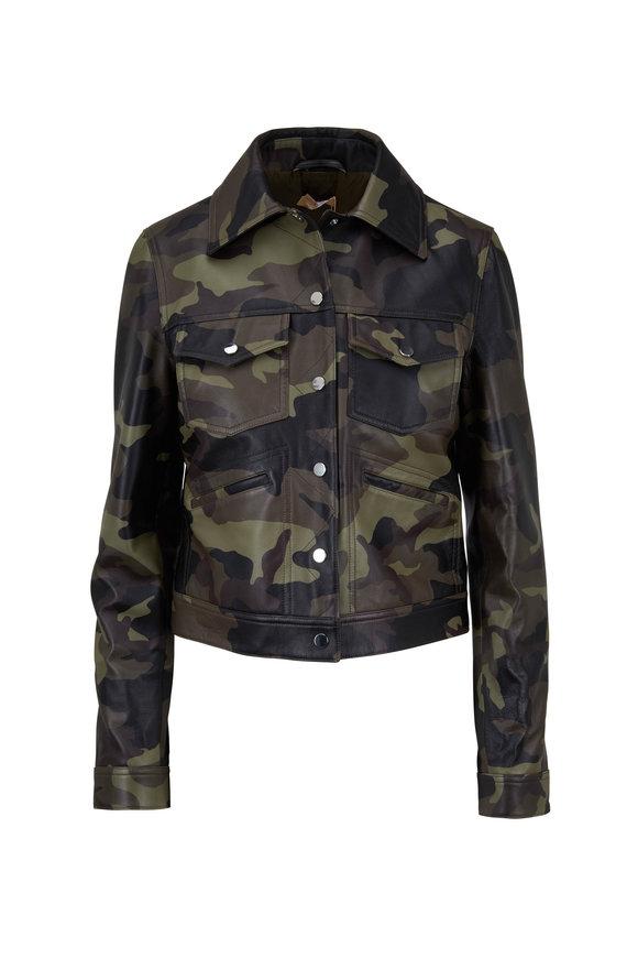 Michael Kors Collection Camo Leather Jacket