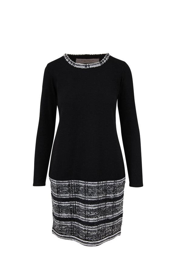 D.Exterior Black Wool Knit Tweed Hem Dress