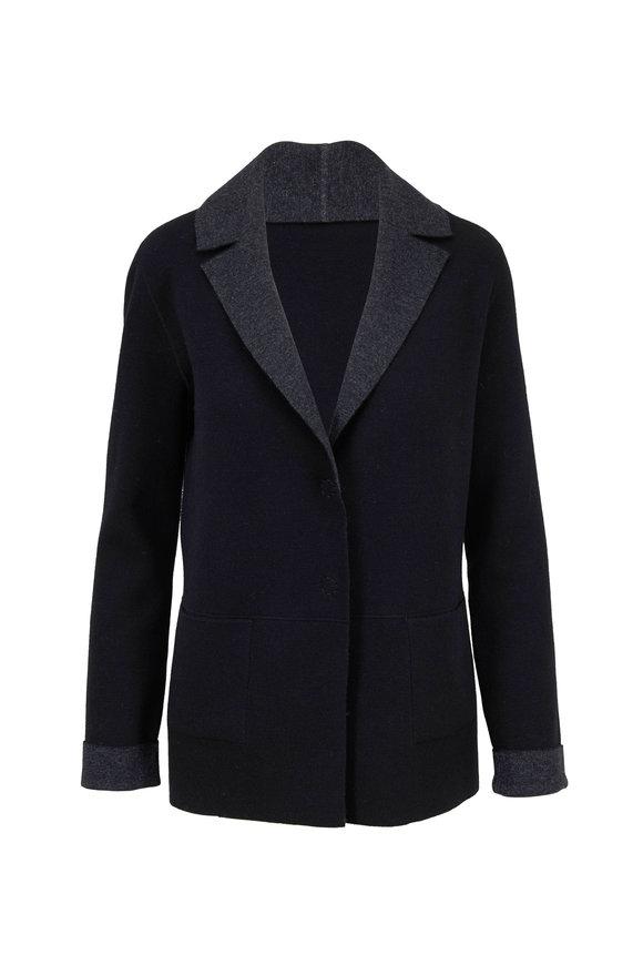 D.Exterior Black & Charcoal Gray Reversible Jacket