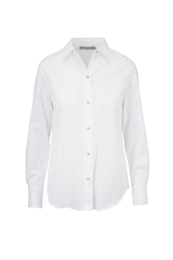 Vince Classic Optic White Cotton Blouse