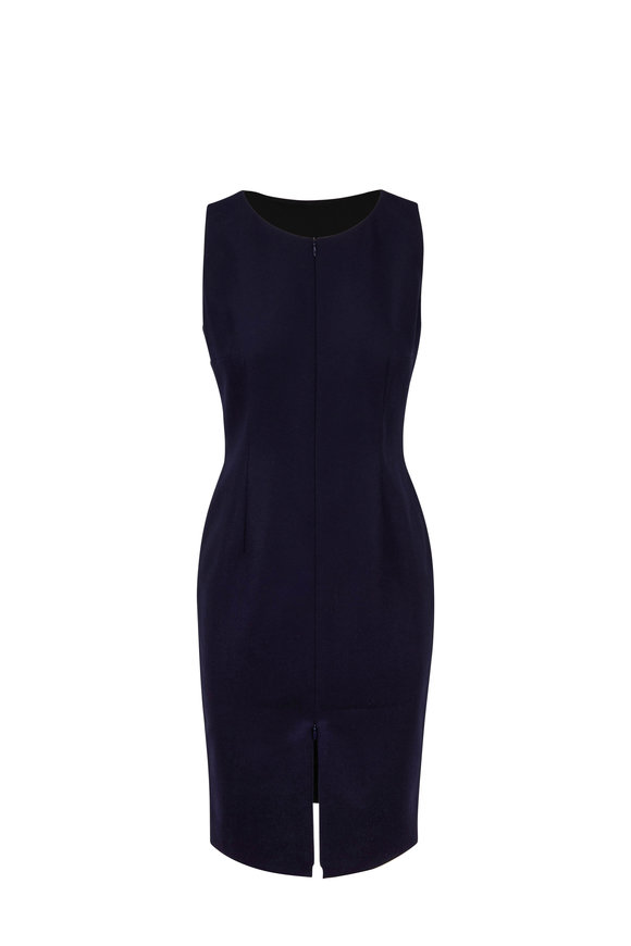 Paule Ka Marine Blue Wool Double-Zip Sleeveless Dress