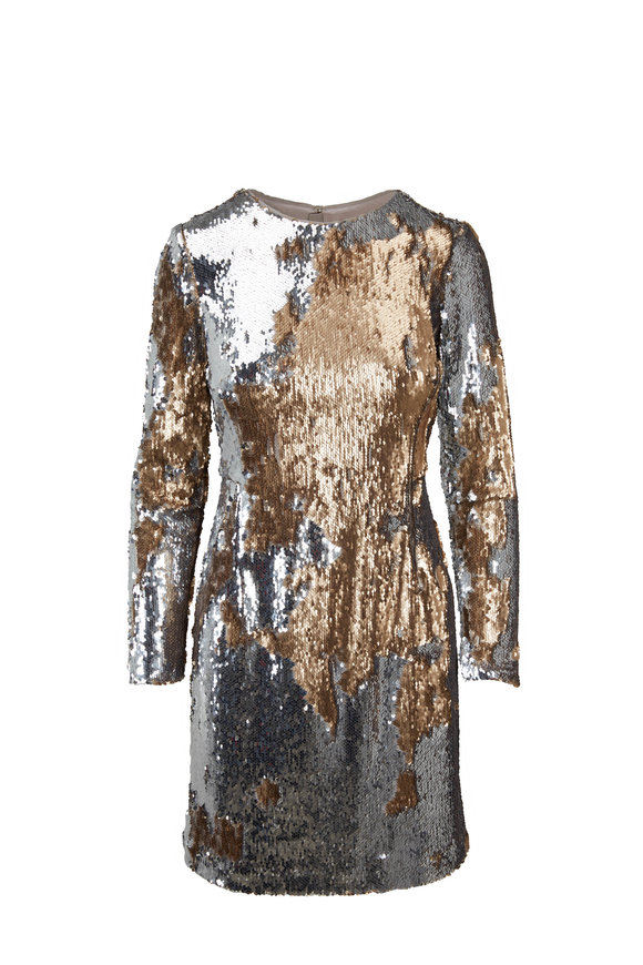 Paule Ka Silver & Gold Sequin Long Sleeve Mini Dress