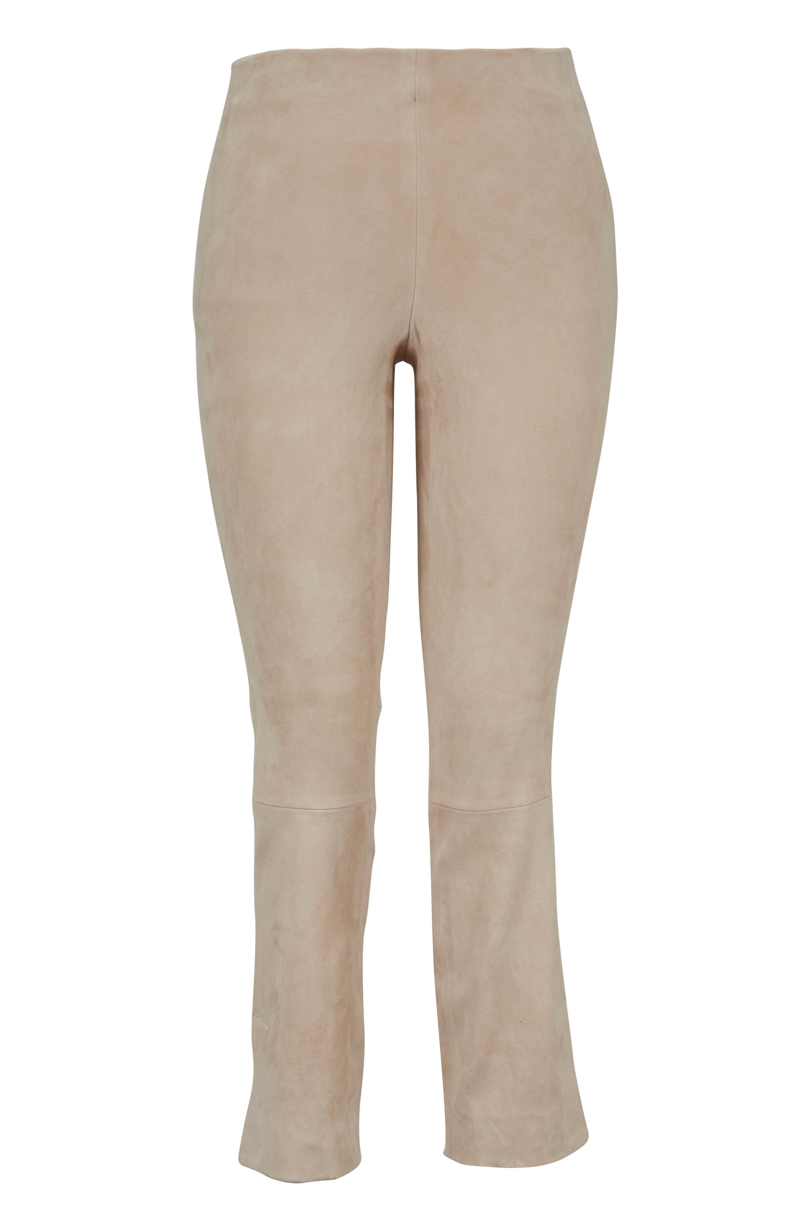 73cfccc5f9a948 Vince - Sandalwood Stretch Suede Split-Hem Cropped Pant | Mitchell ...