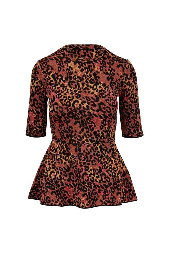 M Missoni Peach Leopard Peplum Knit Top