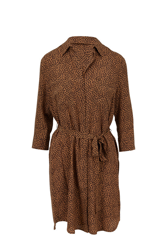 L'Agence Stella Leopard Printed Silk Belted Shirtdress
