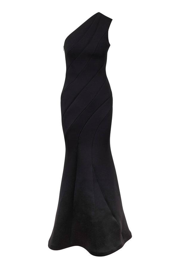 Rachel Gilbert Rumer Black Scuba One-Shoulder Gown