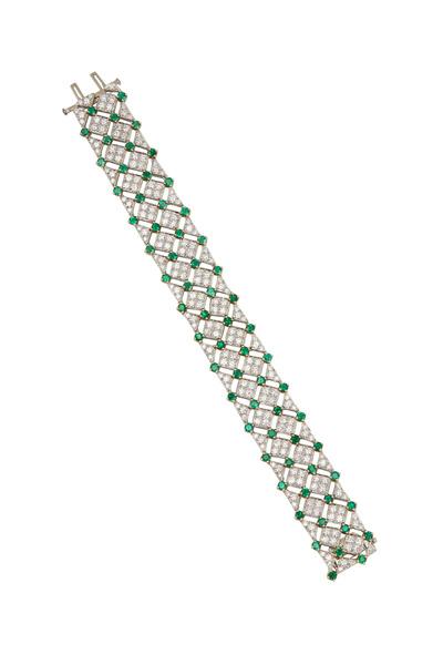 Oscar Heyman - Platinum Green Emerald White Diamond Bracelet