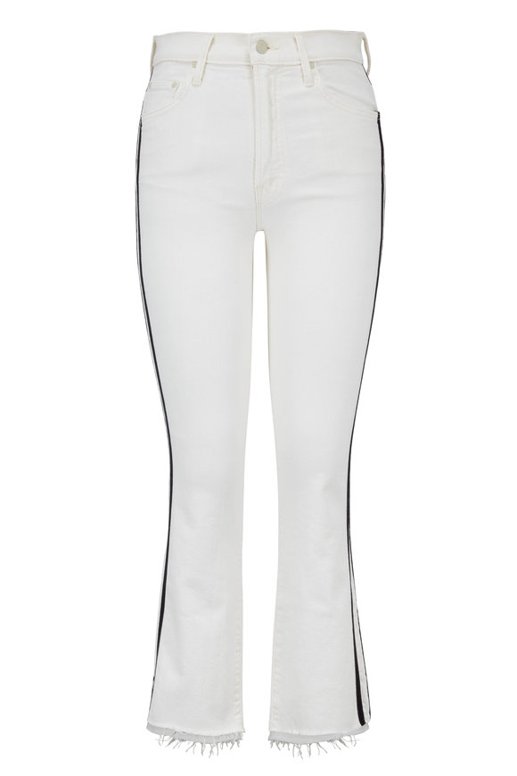 Mother Denim The Insider White Step Fray Cropped Jean