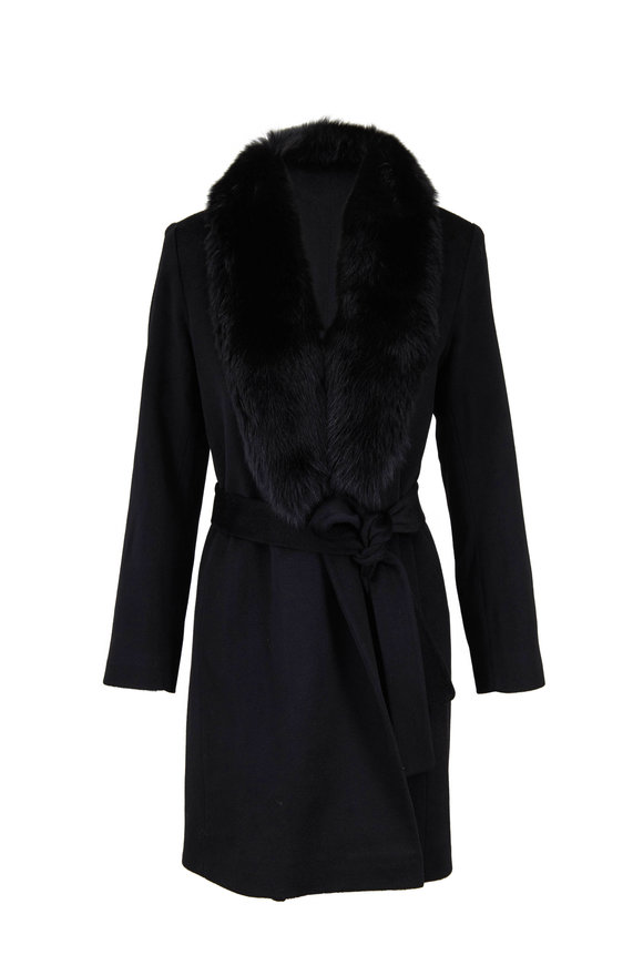 Fleurette Black Fur Collar Belted Wrap Coat