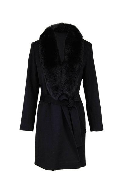 Fleurette - Black Fur Collar Belted Wrap Coat