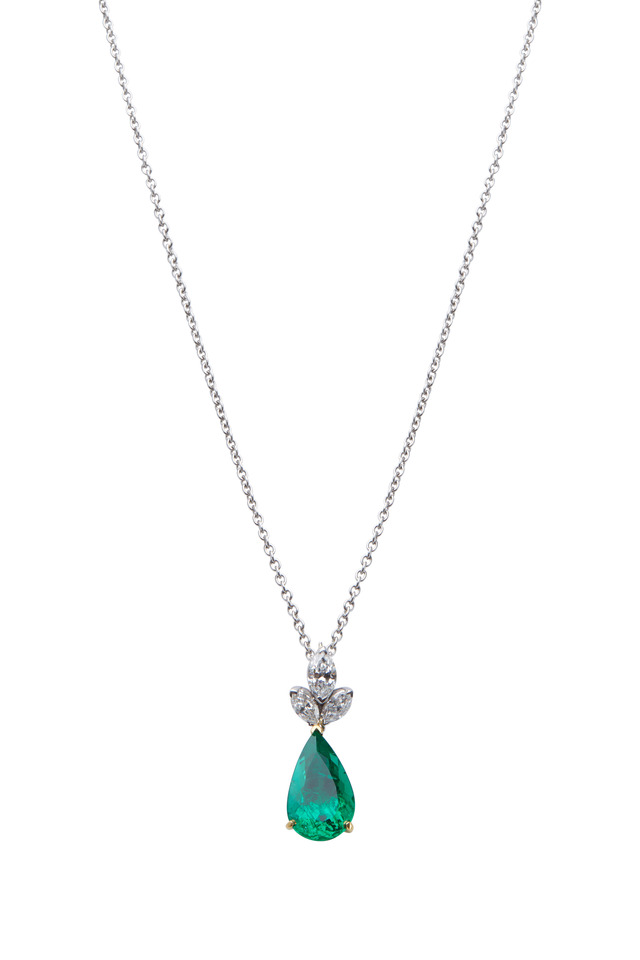 Gold & Platinum Emerald Diamond Pendant