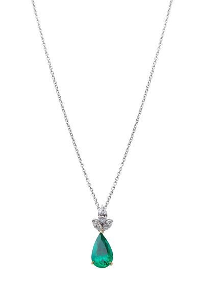 Oscar Heyman - Gold & Platinum Emerald Diamond Pendant
