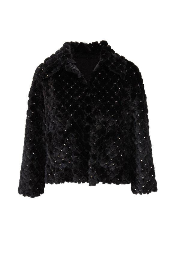Valentino Rockstud Black Mink Studded Jacket
