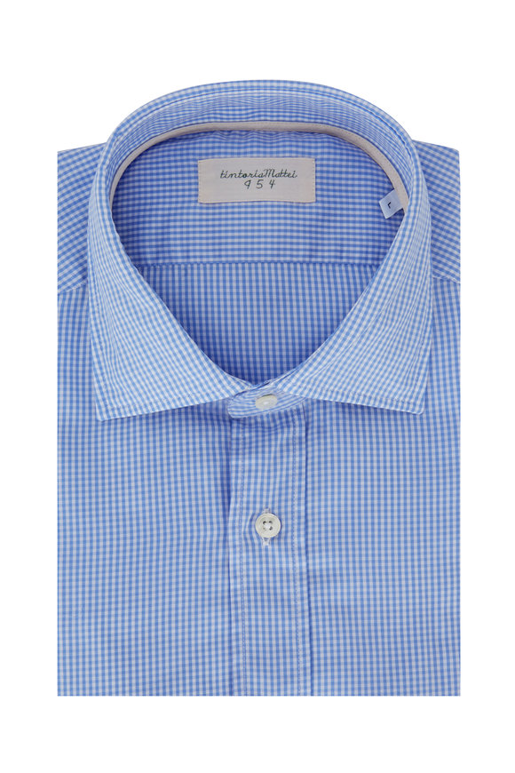 Tintoria Light Blue Mini Check Sport Shirt