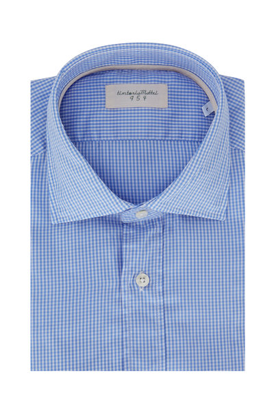 Tintoria - Light Blue Mini Check Sport Shirt