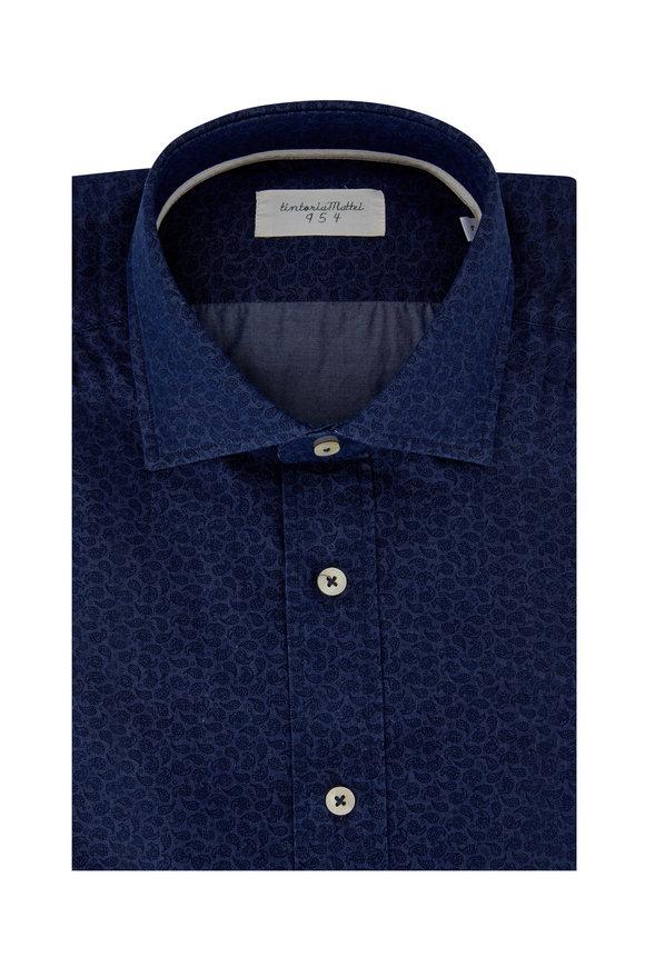 Tintoria Denim Blue Tonal Paisley Printed Sport Shirt