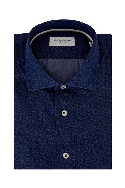Tintoria - Denim Blue Tonal Paisley Printed Sport Shirt
