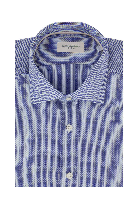Tintoria Navy Cotton Jacquard Striped Sport Shirt
