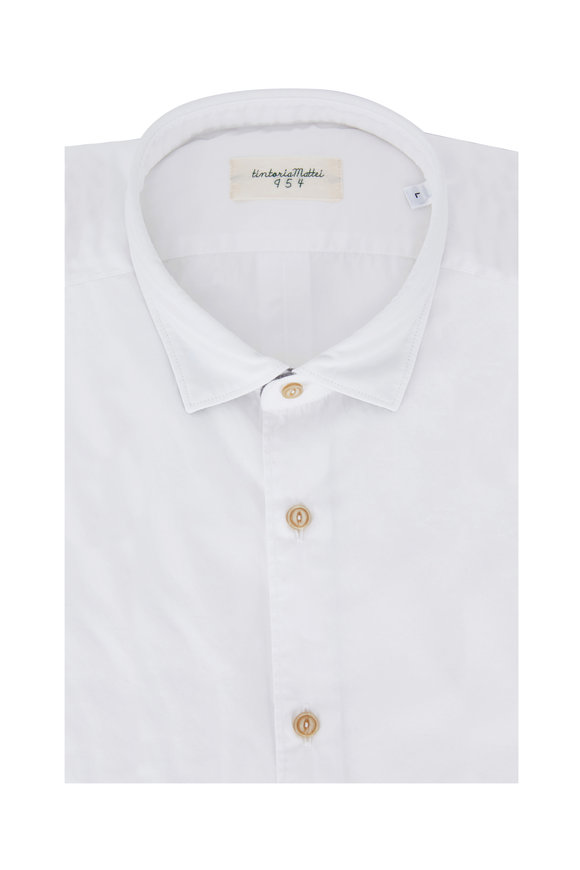 Tintoria White & Gray Tipped Cotton Sport Shirt