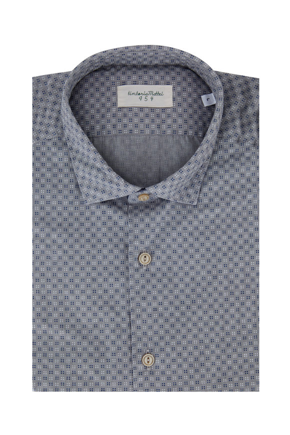 Tintoria Gray, Navy & White Geometric Printed Sport Shirt