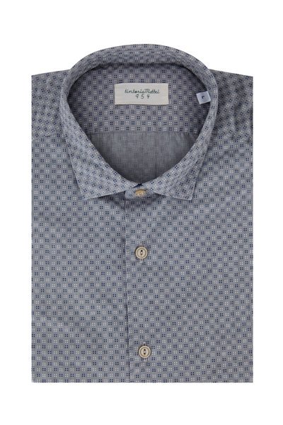 Tintoria - Gray, Navy & White Geometric Printed Sport Shirt