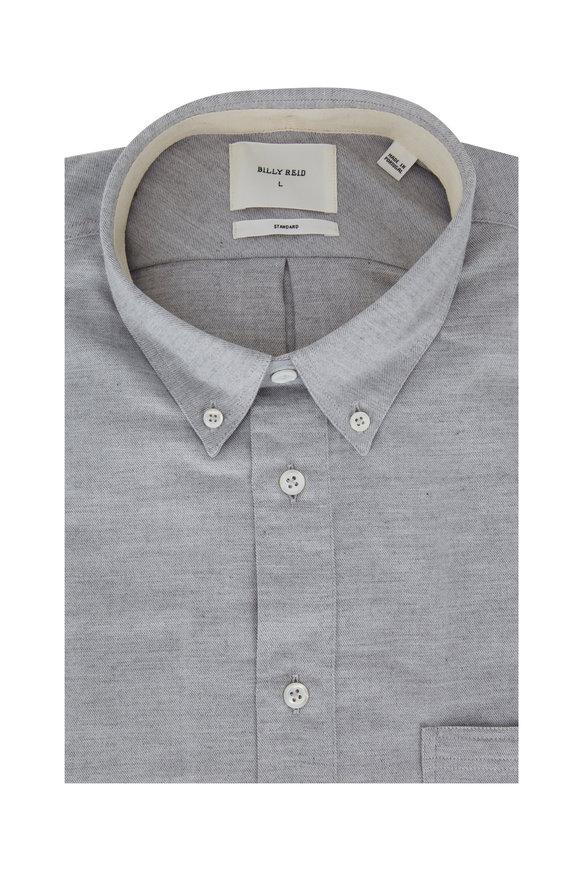Billy Reid Light Gray Brush Cotton Standard Fit Sport Shirt