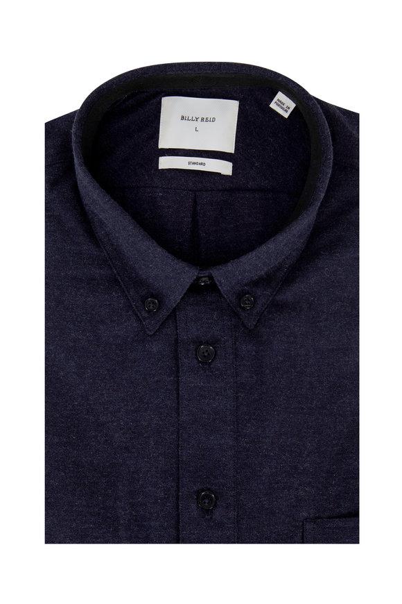 Billy Reid Navy Blue Brushed Cotton Standard Fit Sport Shirt