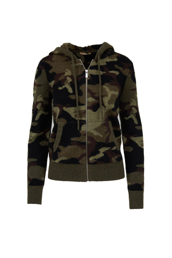 Michael Kors Collection Olive Camoflauge Cashmere Front Zip Hoodie