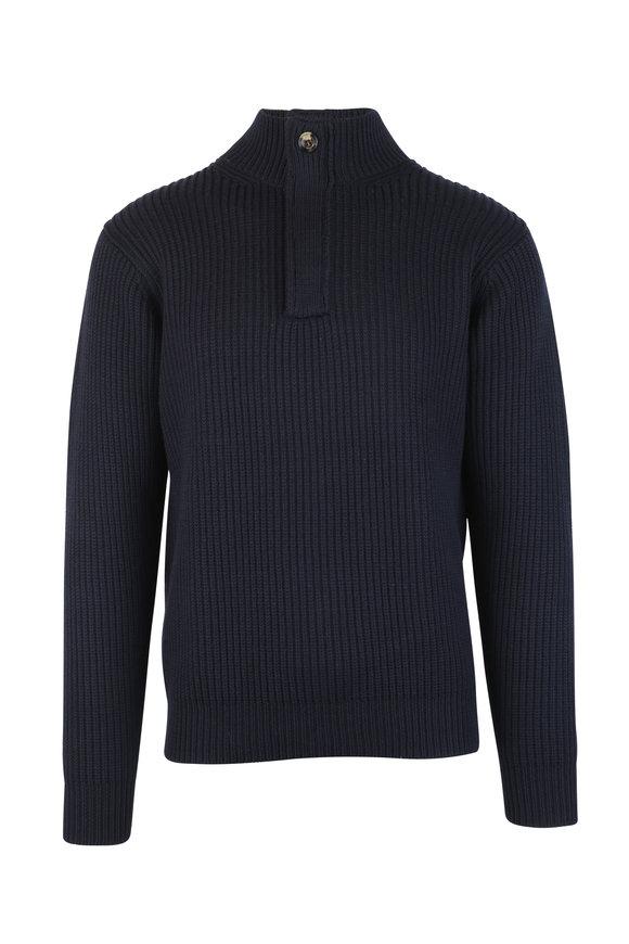 Peter Millar Navy Blue Wool Ribbed Quarter-Zip Sweater