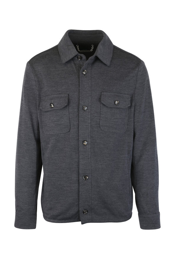 Peter Millar Charcoal Gray Wool Blend Overshirt