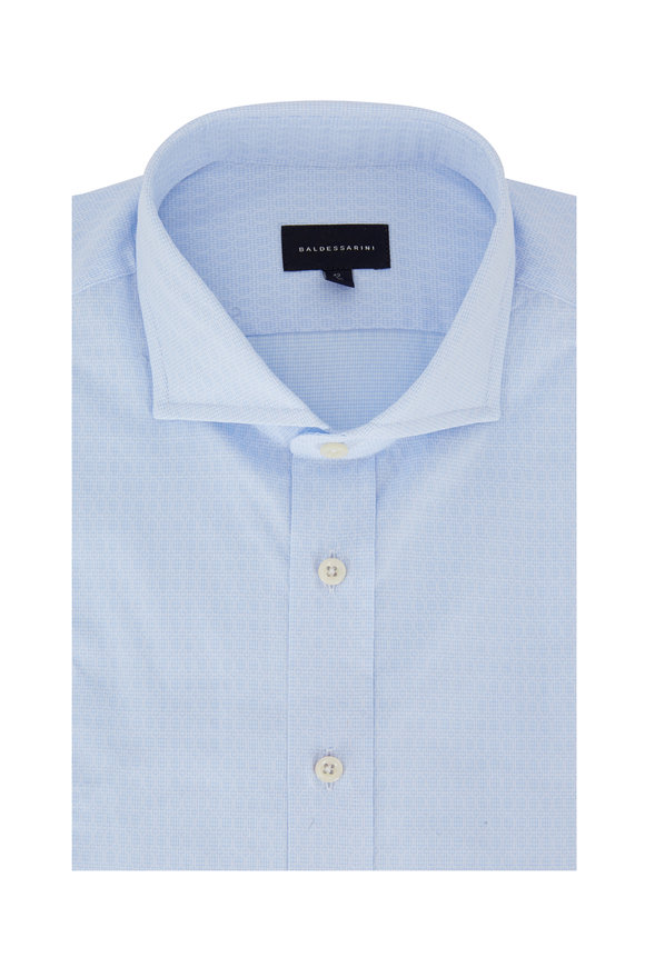 Baldessarini Light Blue Geometric Tailored Fit Sport Shirt