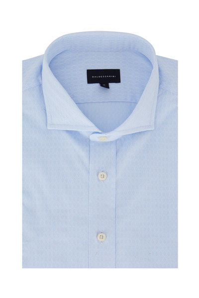 Baldessarini - Light Blue Geometric Tailored Fit Sport Shirt