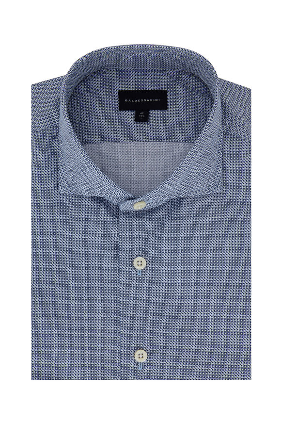 Baldessarini Navy Blue Tailored Fit Geometric Sport Shirt