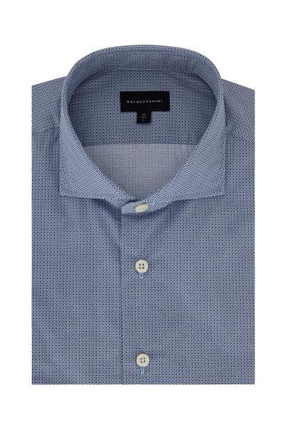 Baldessarini - Navy Blue Tailored Fit Geometric Sport Shirt
