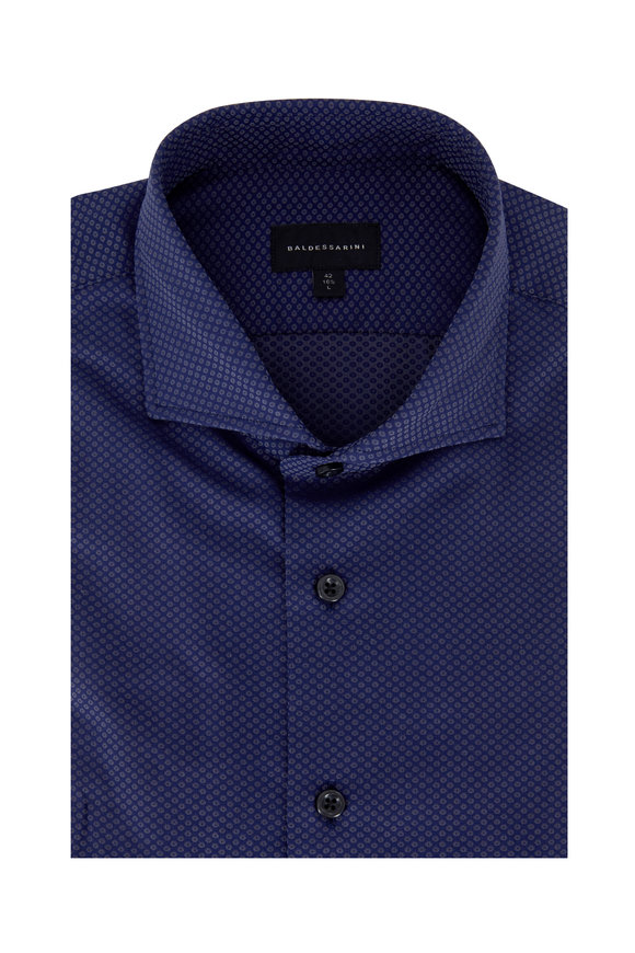 Baldessarini Royal Blue Geometric Tailored Fit Sport Shirt