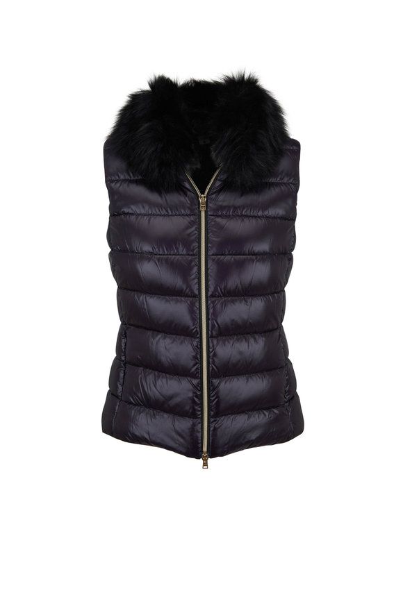 Herno Black Fur Collar Puffer Vest