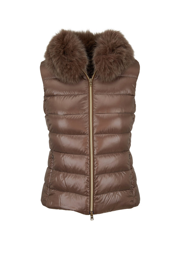 Bronze Fur Collar Puffer Vest