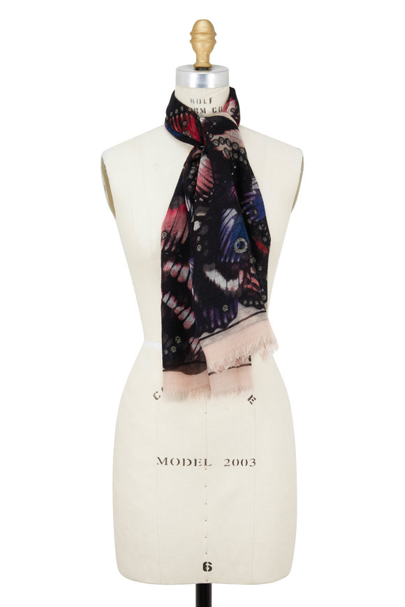 Alexander McQueen Rose Wool & Cashmere Butterfly Paradise Scarf