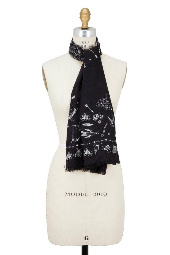 Alexander McQueen Black & Ivory Wool Modal Fantasy Nest Print Scarf