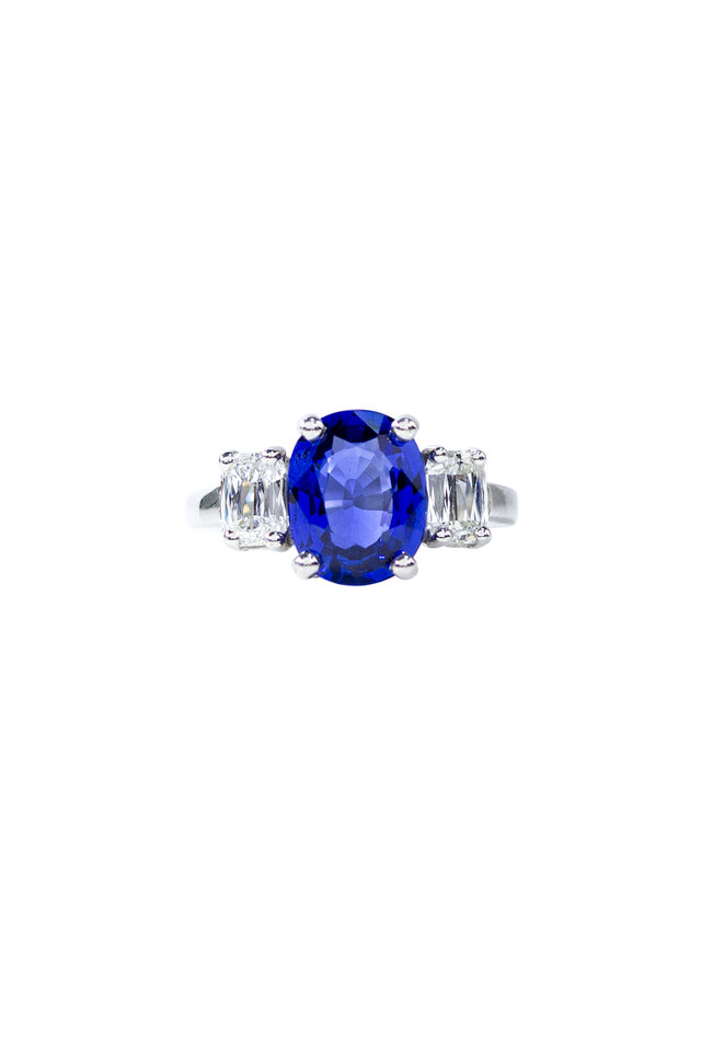 Platinum Blue Sapphire White Diamond Band