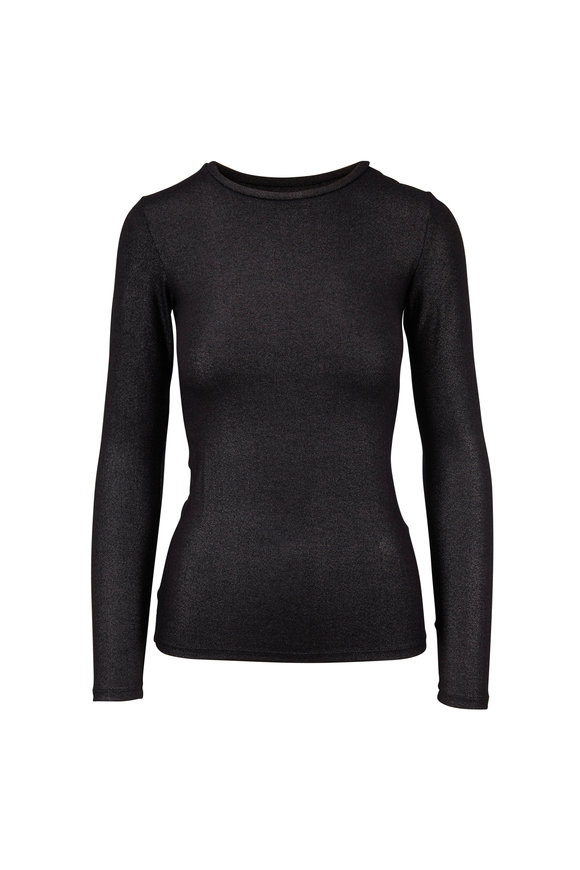 Majestic Black Metallic Superwashed Crewneck T-Shirt