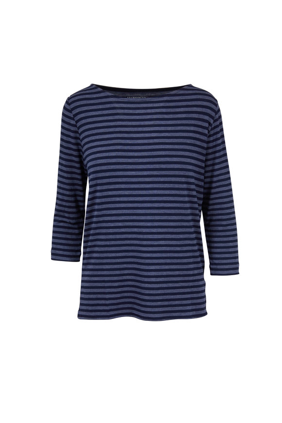 Majestic Denim & Marine Blue Striped Superwashed Top